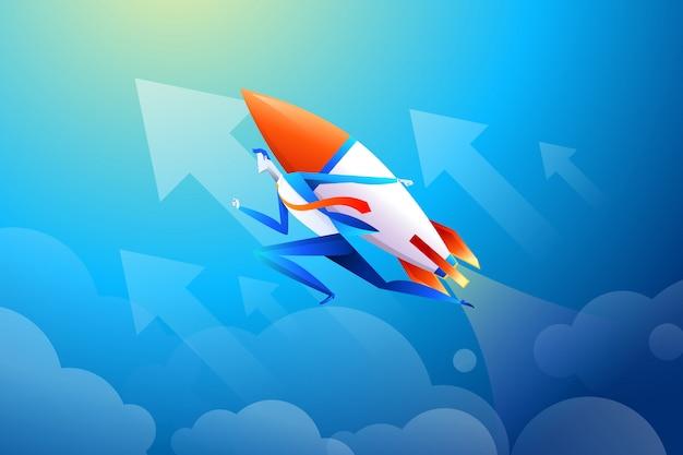Geschäftsmannfliegen auf rakete, diagramm, das zunahme von verkäufen in der ebene zeigt