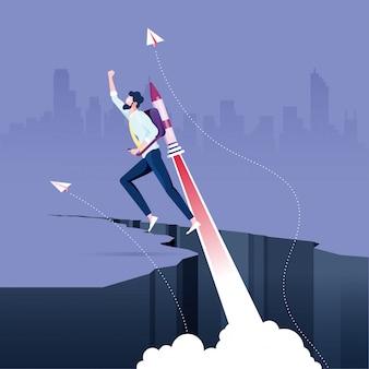 Geschäftsmannfliegen auf rakete vom felsenabstand