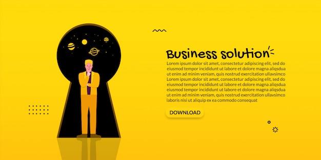Geschäftsmannführung, die vor schlüsselloch, geschäftslösungskonzept steht