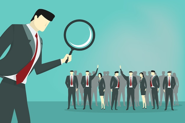Geschäftsmanngebrauchs-lupe, zum der angestellten zu finden