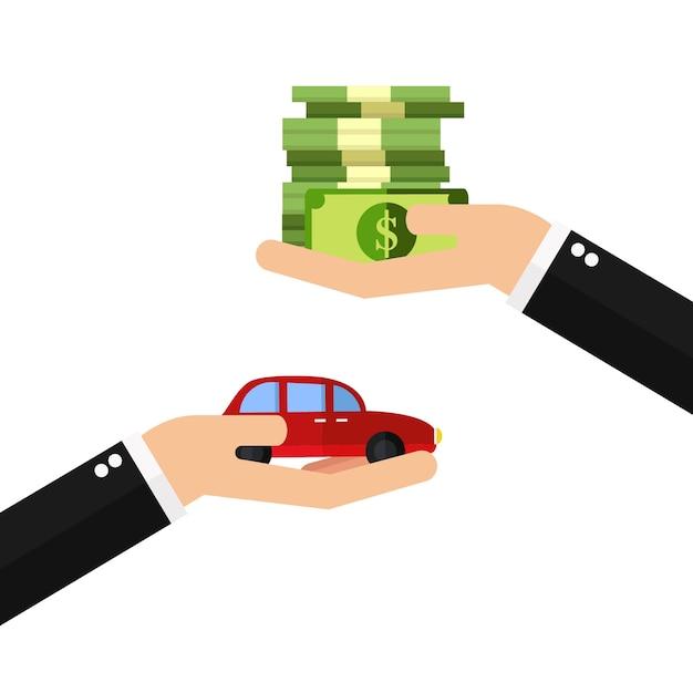 Geschäftsmannhände, die auto kaufen