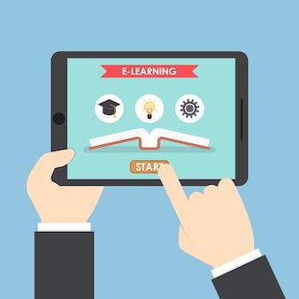 Geschäftsmannhände, die tablet-computer mit e-learning-system halten
