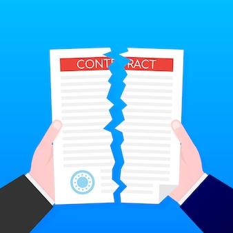 Geschäftsmannhände, die vertragsdokument auseinander reißen. .