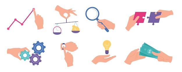 Geschäftsmannhände. geschäftsanalyse und statistik, forschungsarbeit, teamarbeit, zeitmanagement, kreative ideen und prüfungskonzepte vektorset. illustrationsgeschäftsforschung und -idee in der hand