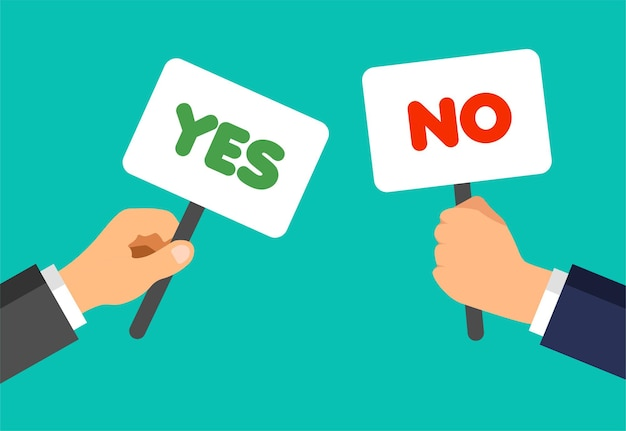 Geschäftsmannhände halten plaketten mit ja- und nein-phrasen. stimmen konzept. nicht zustimmen, zustimmen, nicht mögen, feedback mögen.
