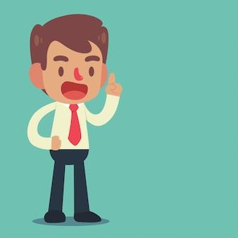 Geschäftsmannhaltung und -gesten stehen zeigend