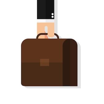Geschäftsmannhand, die aktenkoffer hält
