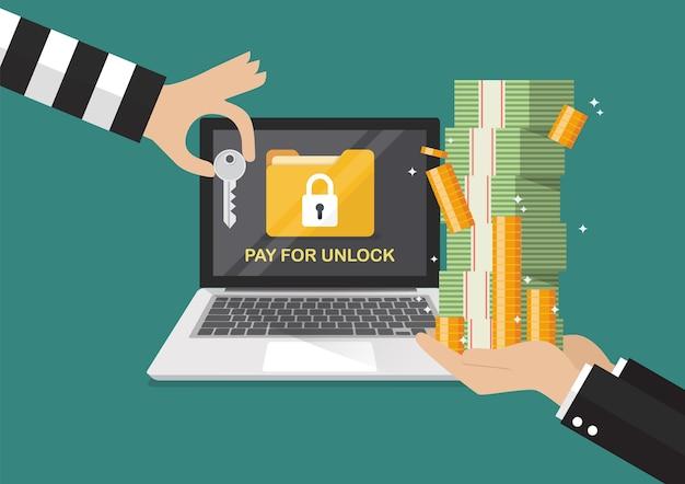 Geschäftsmannhand, die banknote für das zahlen des schlüssels vom hacker für entsperren laptop hält