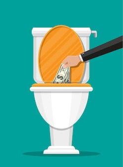 Geschäftsmannhand, die dollarnoten in toilette setzt