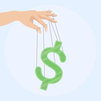 Geschäftsmannhand, die ein geldzeichen als marionette steuert