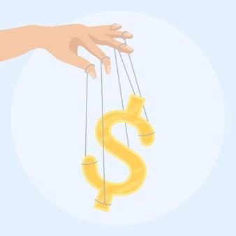 Geschäftsmannhand, die ein geldzeichen als marionettenillustration steuert