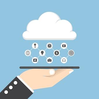 Geschäftsmannhand, die tablette hält und daten bezüglich der wolke teilt