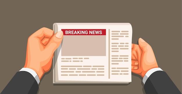 Geschäftsmannhand, die zeitung hält. breaking news artikel informationsszene konzept in cartoon