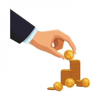 Geschäftsmannhand mit münzen