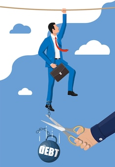 Geschäftsmannhand mit schere, die schuldengewichtskette schneidet. großes schweres schuldengewicht mit fesseln und geschäftsmann im anzug. steuerbelastung finanzkriminalität, gebühren, krise und konkurs. flache vektorillustration