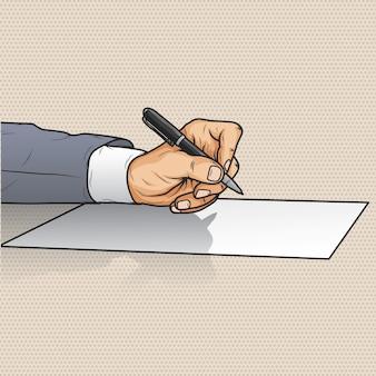 Geschäftsmannhandschrift auf papier mit stift
