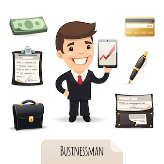 Geschäftsmannikonen eingestellt