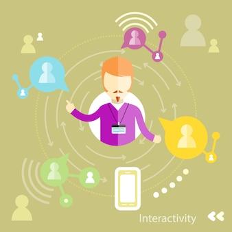 Geschäftsmanninteraktionen durch social media wechselwirkend mit geschäftspartnern. interaktivitätskonzept im flachen design