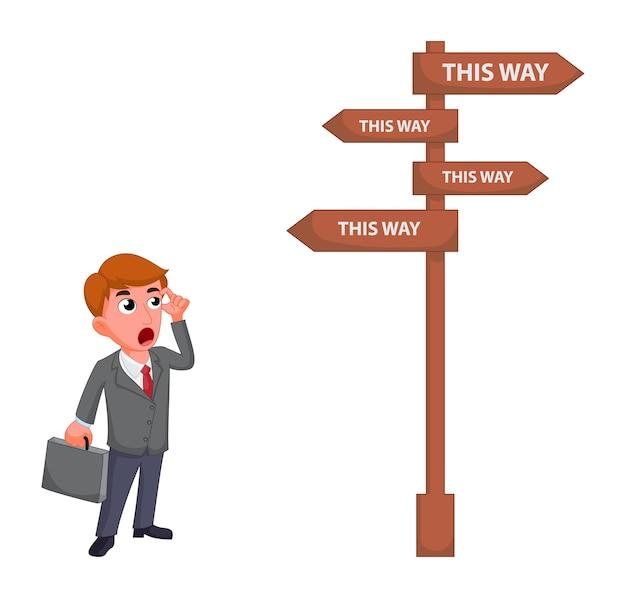 Geschäftsmannkarikatur, die für das wählen der zukünftigen richtung zum erfolg verwirrt