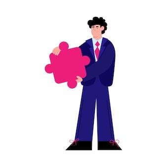 Geschäftsmannkarikaturfigur, die puzzleelementillustration hält