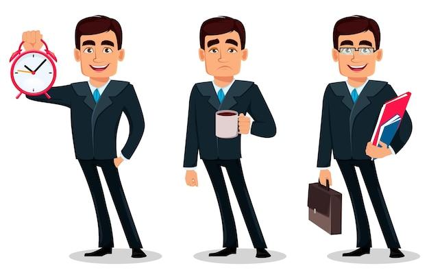 Geschäftsmannkarikaturfigur im formellen anzug