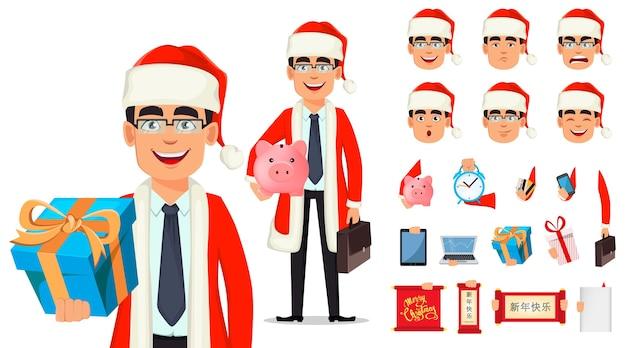 Geschäftsmannkarikaturfigur im weihnachtsmannkostüm