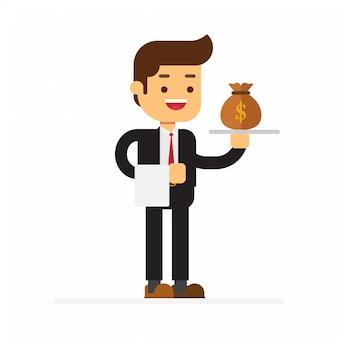Geschäftsmannkellner mit geld