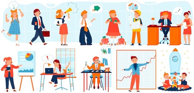 Geschäftsmannkinderillustrationssatz, karikaturkindgeschäftsmanncharakter im stilvollen kostümanzug, der am büroarbeitsplatz arbeitet