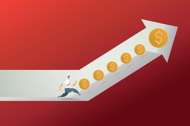 Geschäftsmannkonzept, das auf einem pfeil läuft, der nach oben zeigt, bereit, münzen zu sammeln profit