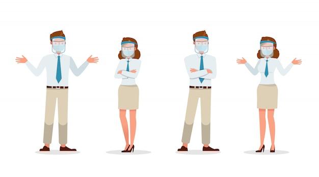 Geschäftsmannleute, die medizinische maske und gesichtsschutzcharakter tragen. präsentation in verschiedenen aktionen. neues normales leben.