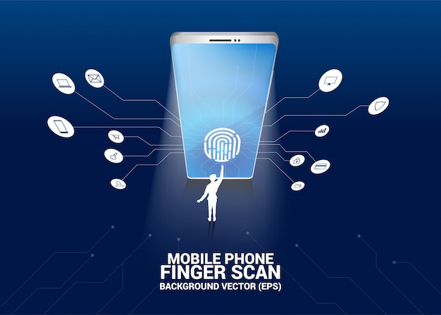 Geschäftsmannnote daumenabdruck auf fingerscanikone im handybildschirm