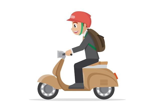 Geschäftsmannreiten auf einem motorrad.