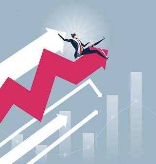Geschäftsmannrodeodiagramm - börse-konzeptvektor