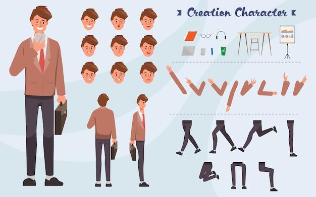 Geschäftsmannschaffungs-charakterhaltung mit besetzungsjob in der uniformklage. emotionen gesicht animation.
