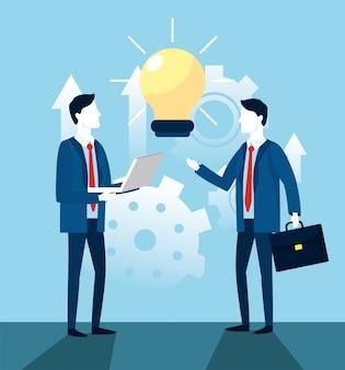 Geschäftsmannteamwork mit birnenideenstrategie