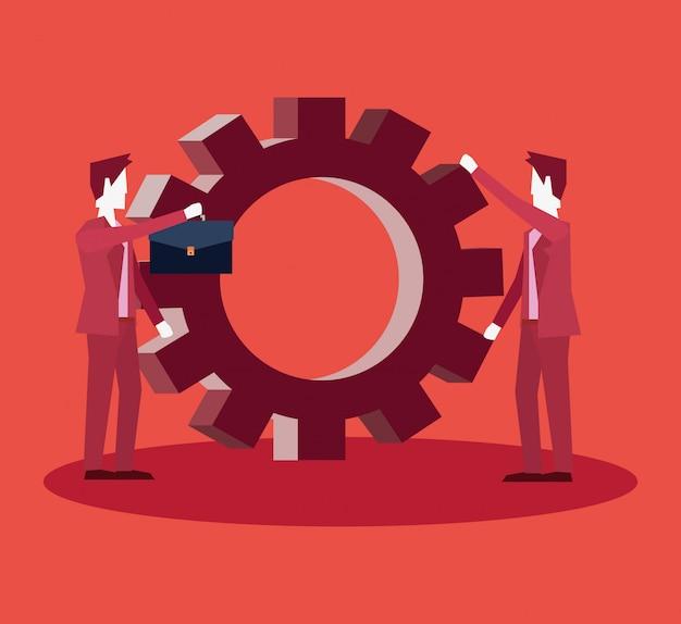 Geschäftsmannteamwork-zusammenarbeits-lösungsgruppe