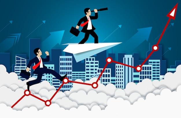 Geschäftsmannwettbewerb auf einem pfeilrot. hoch im himmel. gehen sie zum ziel und zum geschäftsfinanzierungserfolg