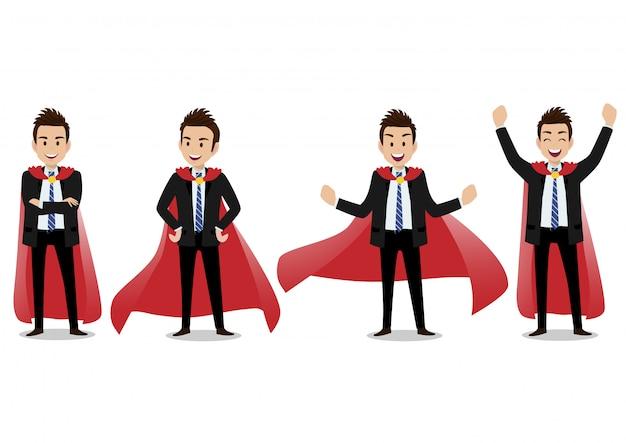 Geschäftsmannzeichentrickfilm-figur in einem superheldkostüm
