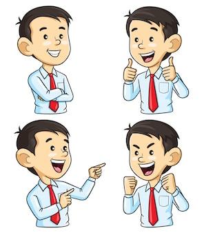 Geschäftsmannzeichentrickfilm-figur mit unterschiedlicher geste