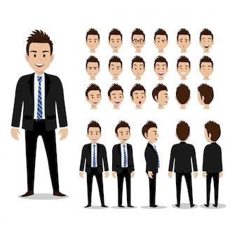 Geschäftsmannzeichentrickfilm-figur, satz von vier haltungen. hübscher geschäftsmann im intelligenten anzug. vektor-illustration