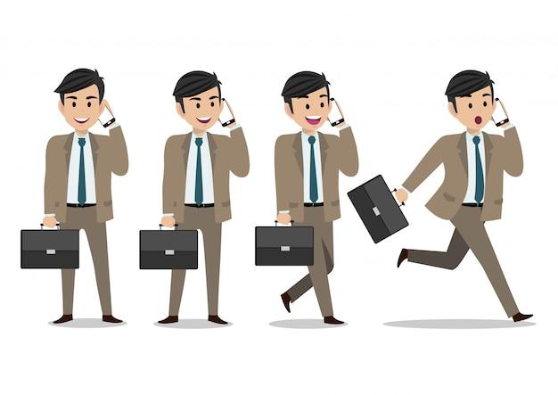 Geschäftsmannzeichentrickfilm-figur, satz von vier haltungen
