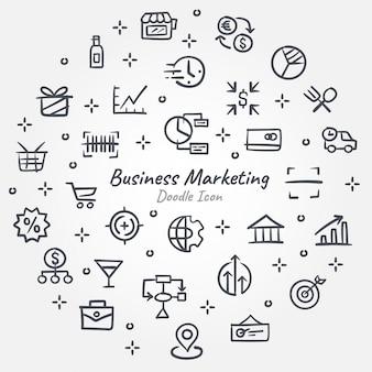 Geschäftsmarketing-gekritzelikonenfahne