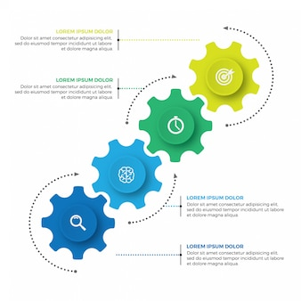 Geschäftsmechanismus infografik-design-vorlage mit symbolen und 4 optionen oder schritten.