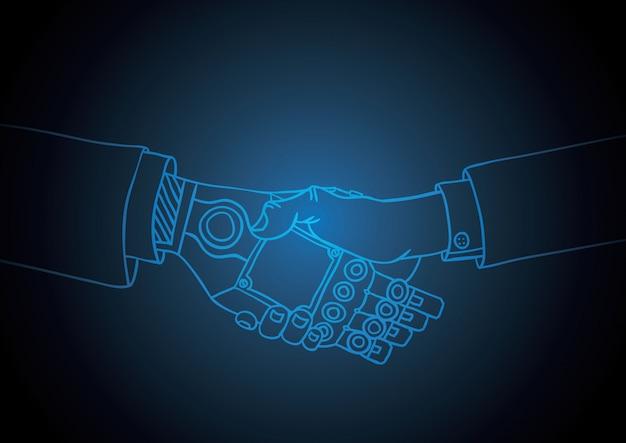Geschäftsmensch und roboterhändedruck
