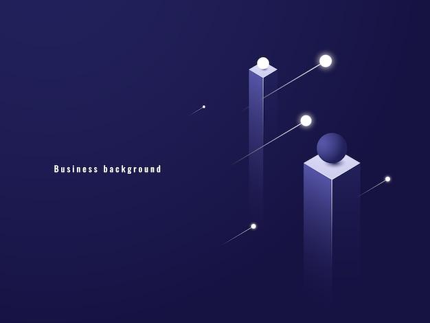 Geschäftsminimalismuskonzept, datenfluss, futuristische illustration, spalten