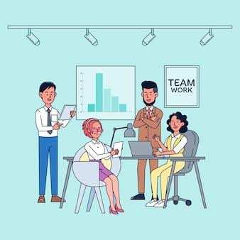 Geschäftsmitarbeiter sprechen und arbeiten im computer-besprechungsraum. flache illustration