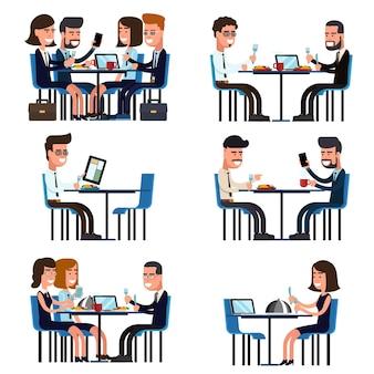 Geschäftsmittagspause. essen und treffen, leute kollegen sitzen, vektor-illustration