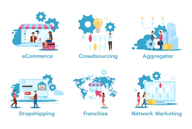 Geschäftsmodell flat set. e-commerce. crowdsourcing. aggregator. dropshipping. franchise. netzwerk-marketing. handelsstrategien