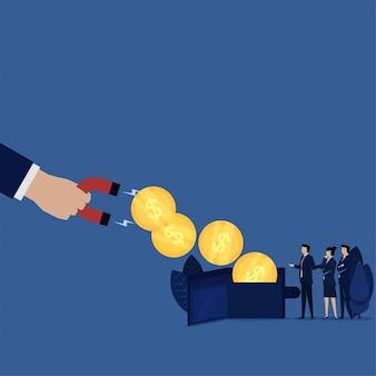 Geschäftsmünzgeldbörse hochgezogen durch magnetmetapher der schuldsteuerbank.