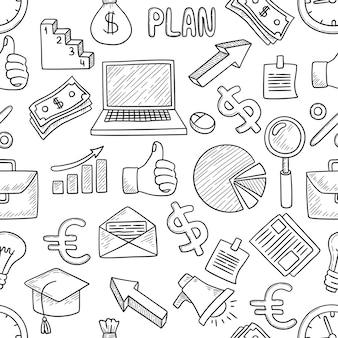 Geschäftsmuster. büroartikel innovationstechnologie werkzeuge, computer, arbeit, ideen, glühbirnen, notizen laptop nahtlose musterskizze